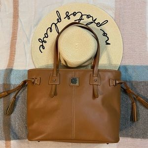 Dooney and Bourke Tan Leather Tassel Tote